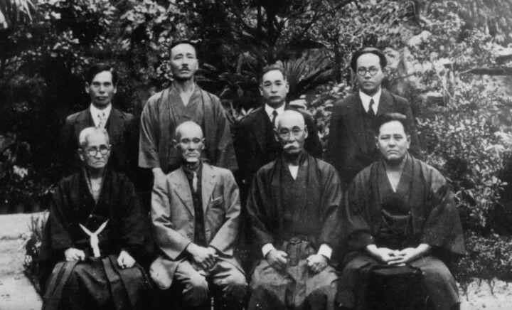 Antikes Bild von verschiedenen Karategrossmeister